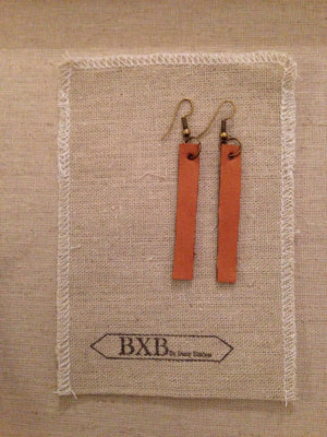 Straight Line Leather Earring