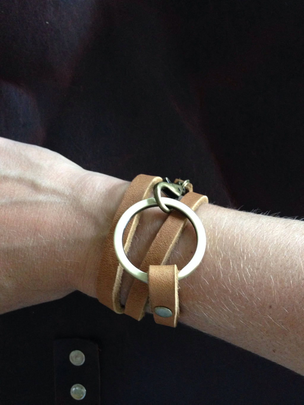 Triple Leather Wrap Bracelet with Clip