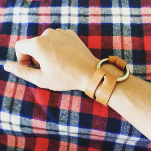 Minimalist Split Leather Bracelet with Heavy Ring