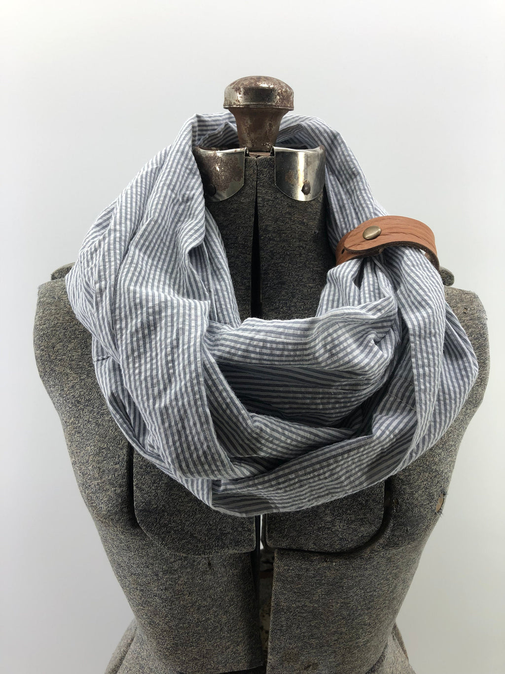 Gray & White Seersucker Eternity Scarf with a Leather Cuff