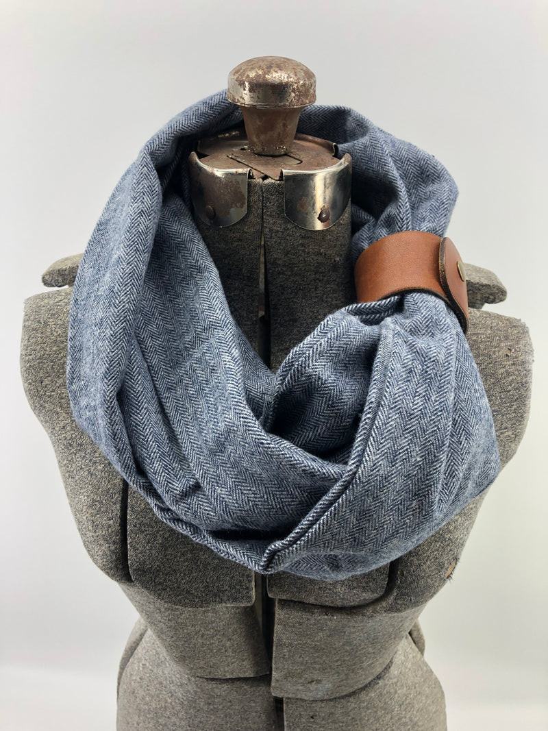 Blue herringbone flannel eternity scarf with a brown leather cuff - soft, trendy