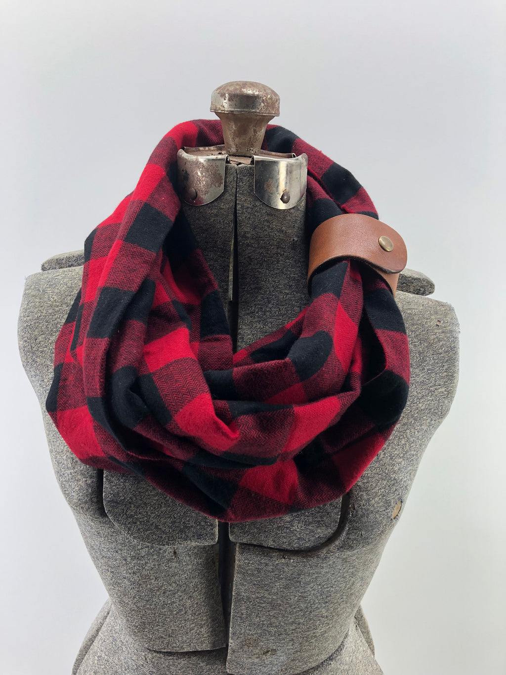 Black & Red Buffalo Check Eternity Scarf with a Leather Cuff