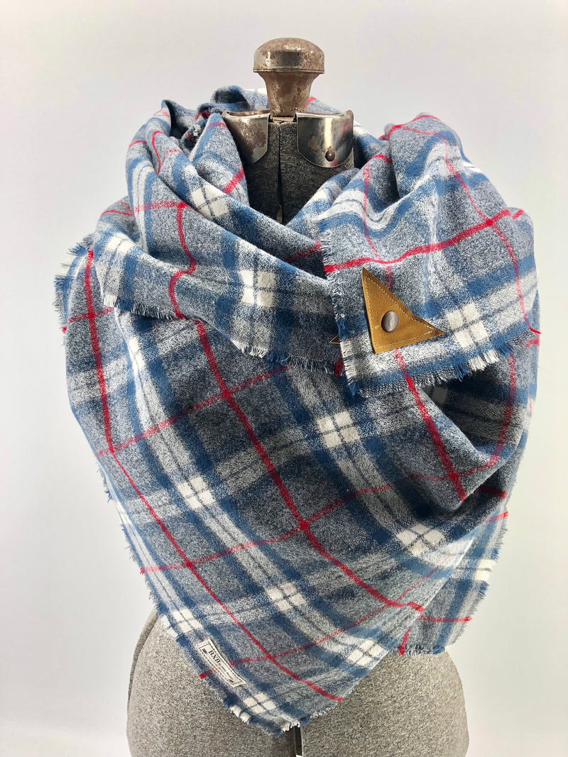 Blue White & Red Plaid Blanket Scarf with Leather Detail