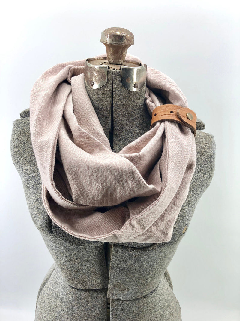 Blush Herringbone Eternity Scarf with a Leather Cuff