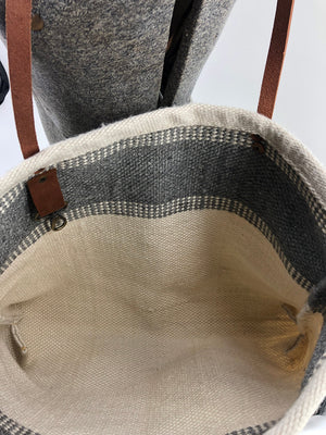 Color Block Woven Rug Bag with Upcycled Horse Rein Handles