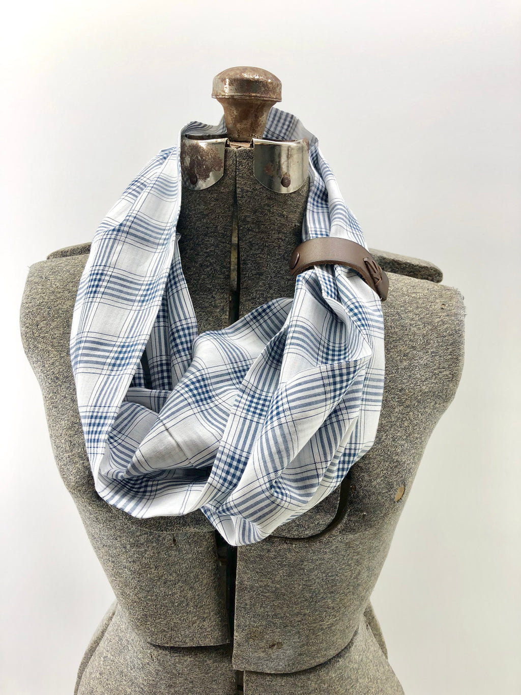 Navy Small Plaid Eternity Scarf with a Leather Cuff