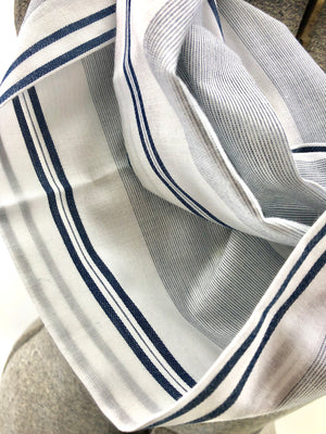 Navy Thin Striped Eternity Scarf with a Leather Cuff