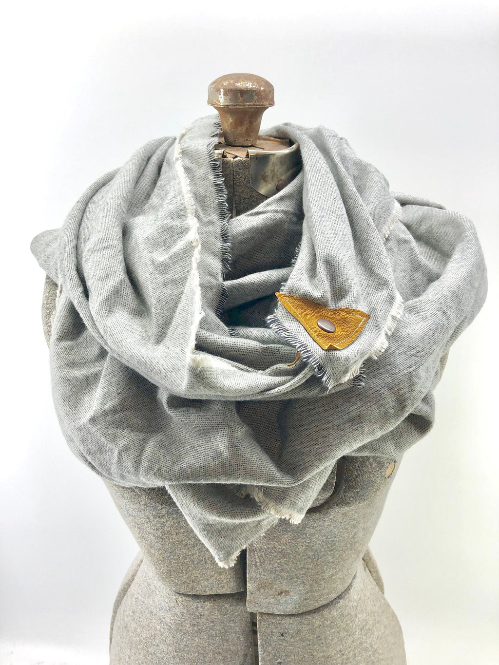 Gray Blanket Scarf with Leather Detail