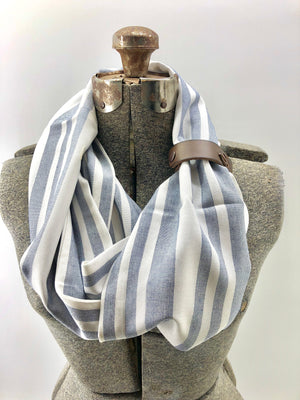 Pixelated Blue Striped Eternity Scarf with a Leather Cuff