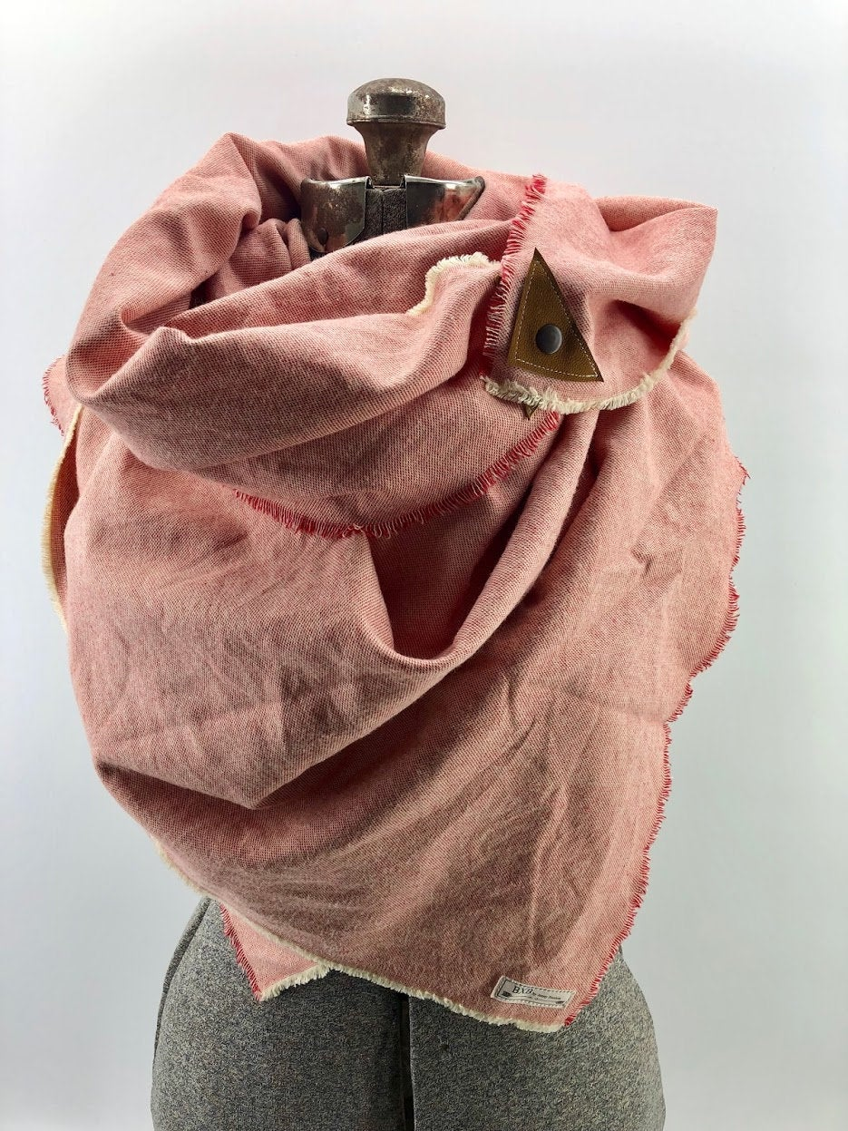 Coral Blanket Scarf with Leather Detail