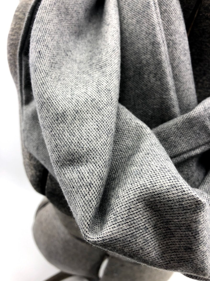 Solid Gray Eternity Scarf with a Leather Cuff