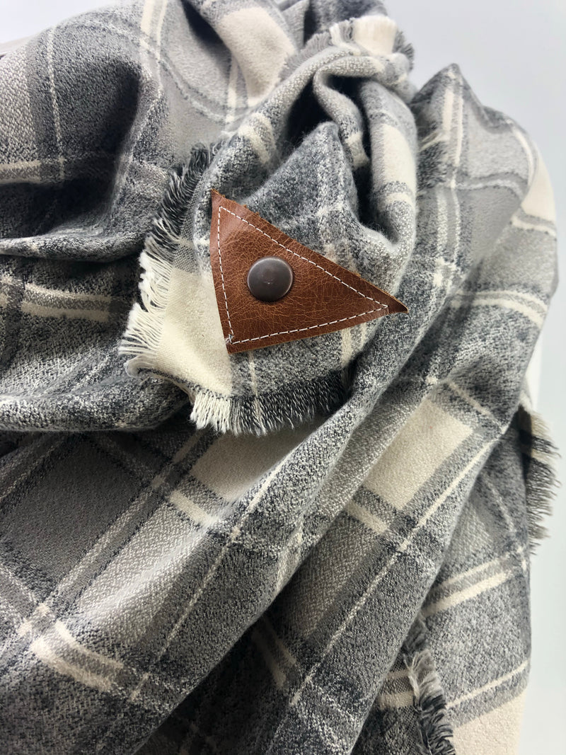 Gray & Cream Plaid Blanket Scarf with Leather Detail