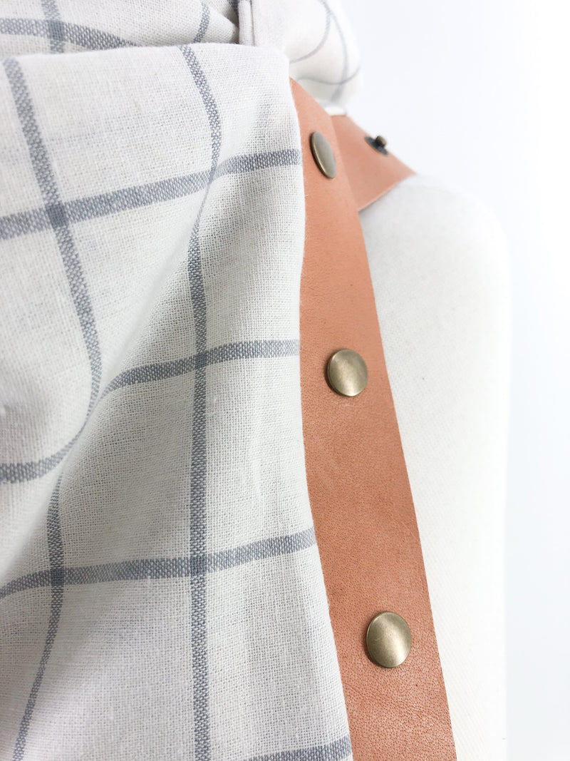 White Windowpane Multi Snap Scarf with Leather Snaps