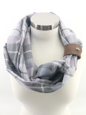 Lavender Plaid Eternity Scarf with a Leather Cuff