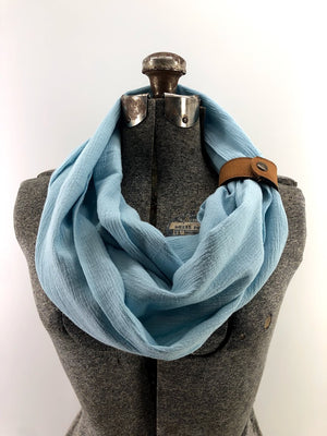 Light Blue Gauze Eternity Scarf with a Leather Cuff