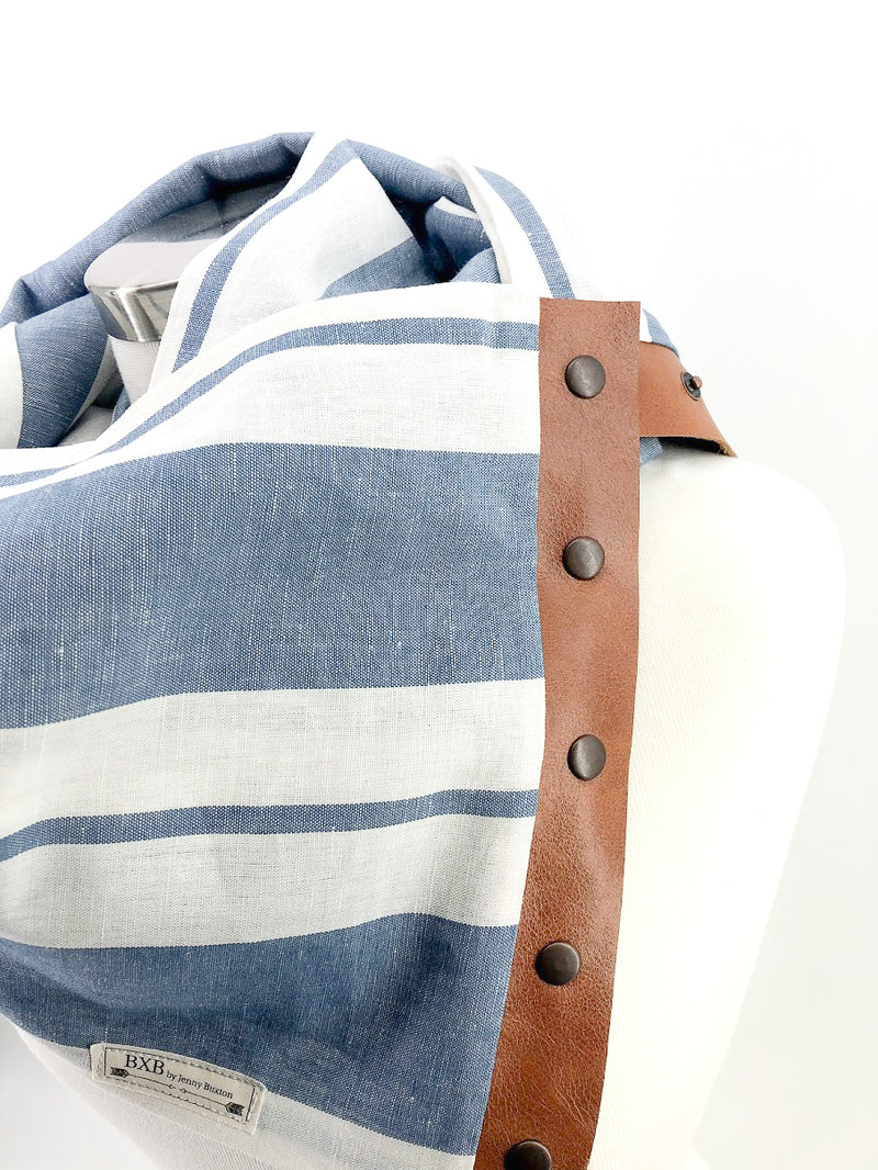 Light Blue Wide Stripe Linen Multi Snap Scarf with Leather Snaps