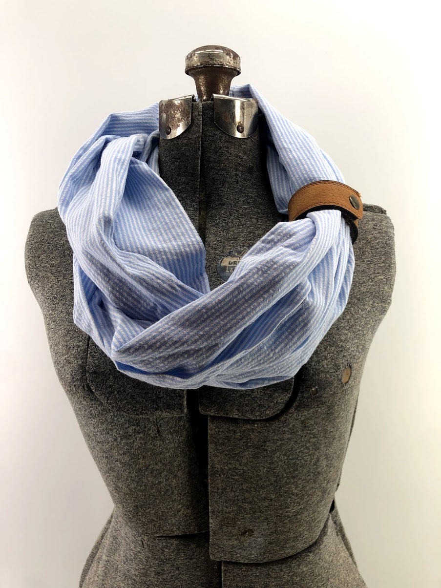 Light Blue Seersucker Eternity Scarf with a Leather Cuff