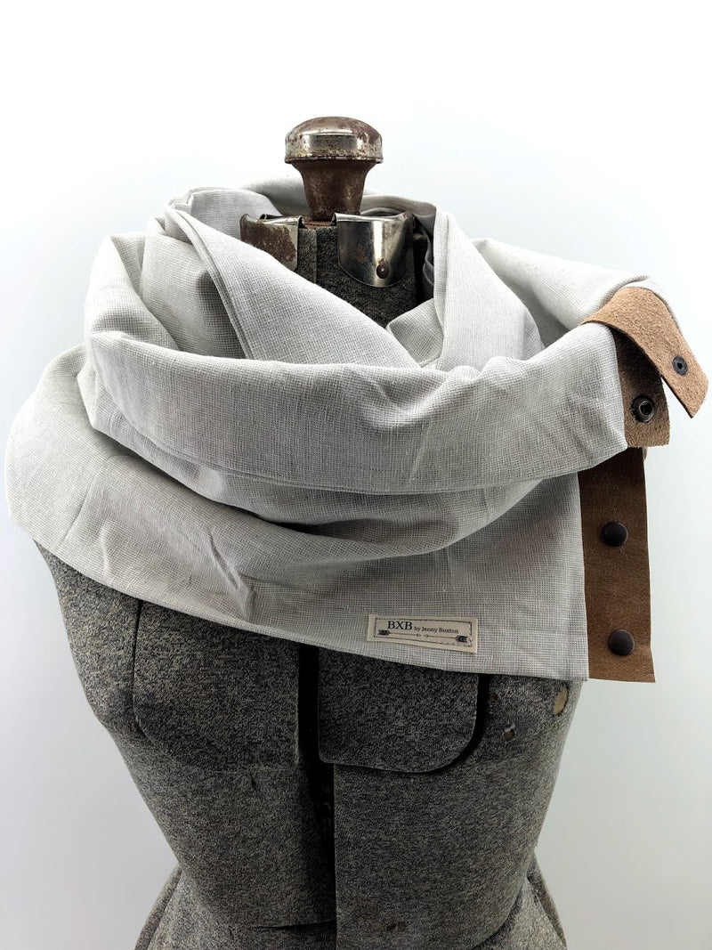 Light Grey Linen Multi Snap Scarf with Leather Snaps