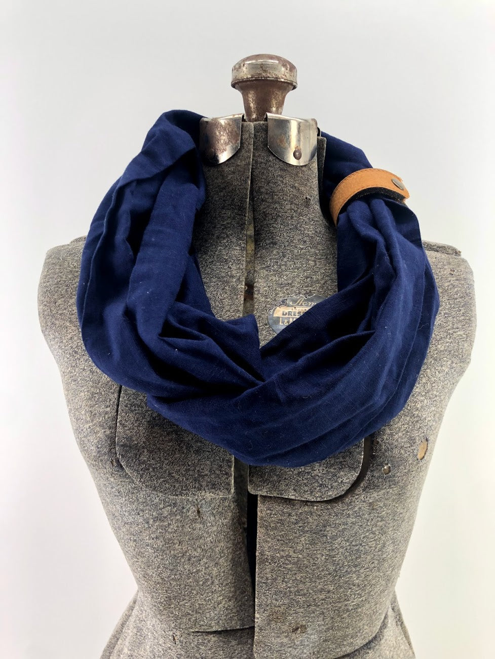 Navy Linen Eternity Scarf with a Leather Cuff