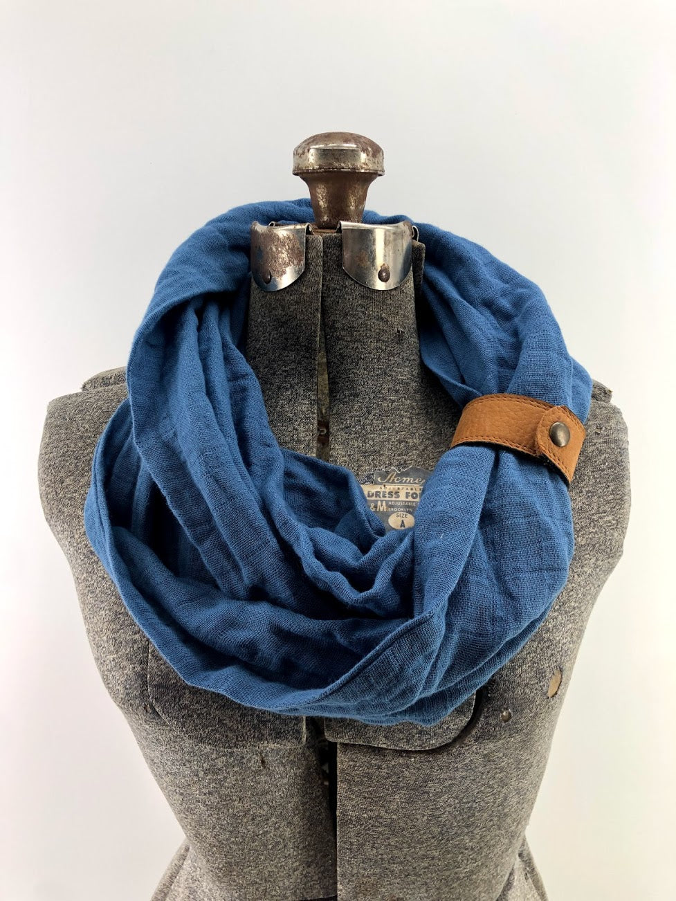 Midnight Blue Gauze Eternity Scarf with a Leather Cuff
