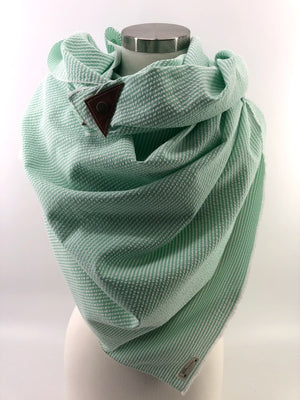 Mint Seersucker Blanket Scarf with Leather Detail