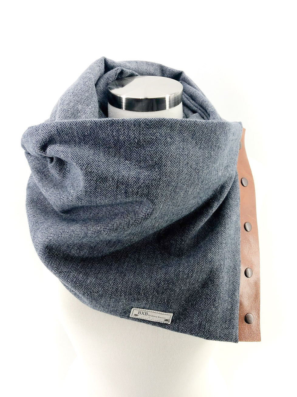 Navy Herringbone Multi Snap Scarf with Leather Snaps