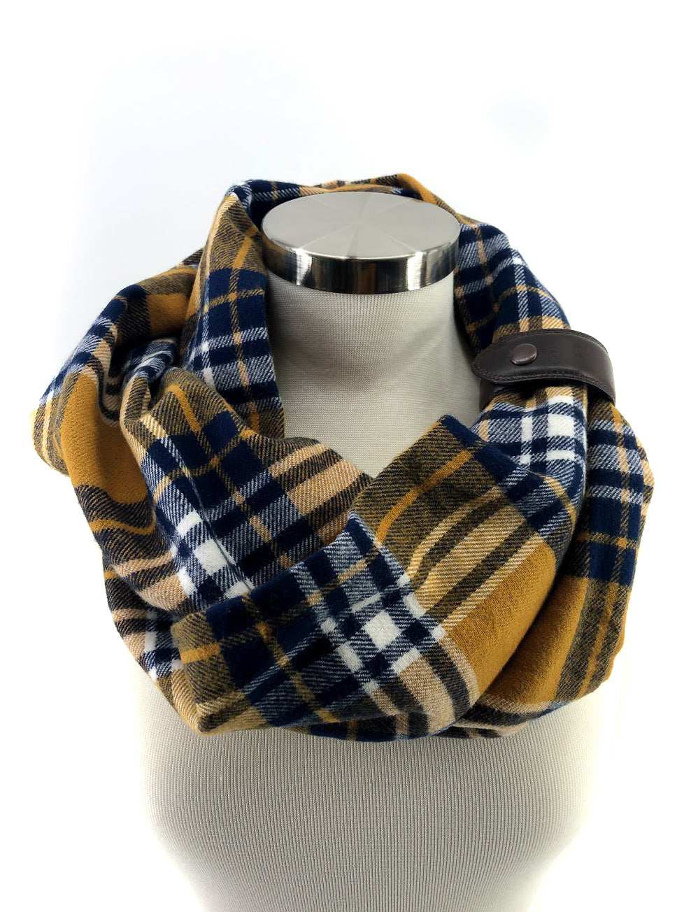Navy & Mustard Plaid Eternity Scarf with a Leather Cuff
