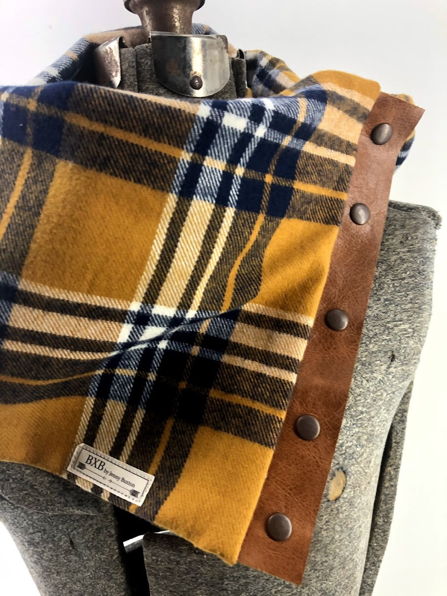 Navy & Mustard Plaid Multi Snap Scarf with Leather Snaps