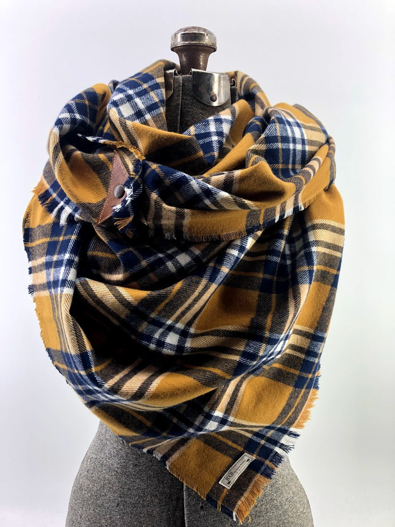 Navy & Mustard Plaid (New) Blanket Scarf with Leather Detail