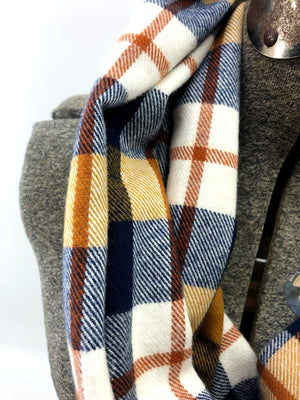 Navy Mustard & Rust Plaid (New) Eternity Scarf with a Leather Cuff