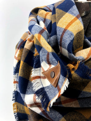 Navy Mustard & Rust Plaid (New) Blanket Scarf with Leather Detail