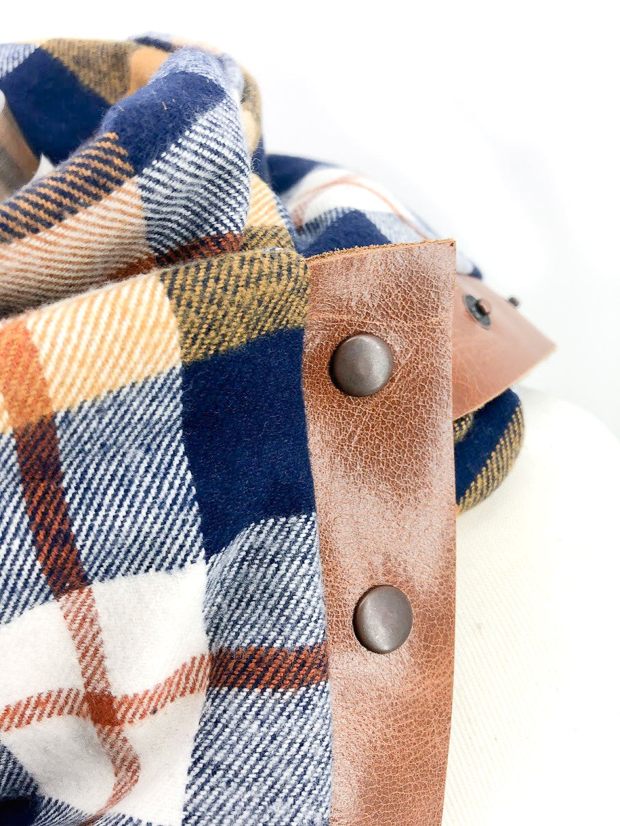 Navy Mustard & Rust Plaid (New) Multi Snap Scarf with Leather Snaps