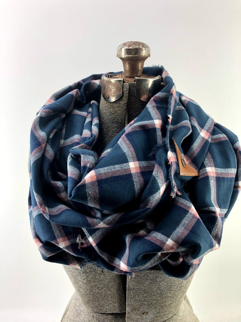 Navy & Pink Window Pane (New) Blanket Scarf with Leather Detail