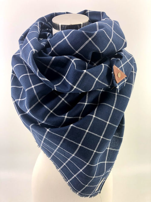 Navy & White Linen Windowpane Blanket Scarf with Leather Detail