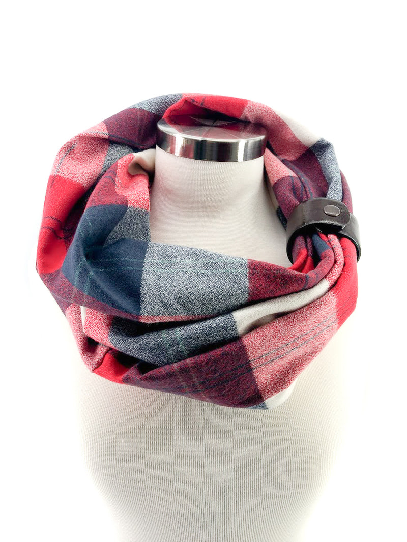 New England Football Plaid Eternity Scarf with a Leather Cuff