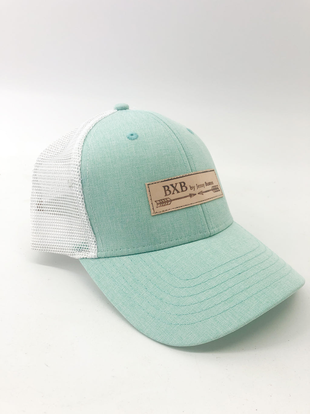 Ocean & White Mesh BXB Leather Logo Trucker Hat