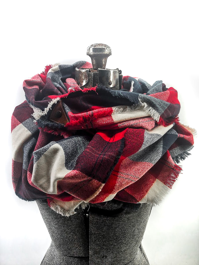 New England Football Plaid Blanket Scarf with Leather Detail