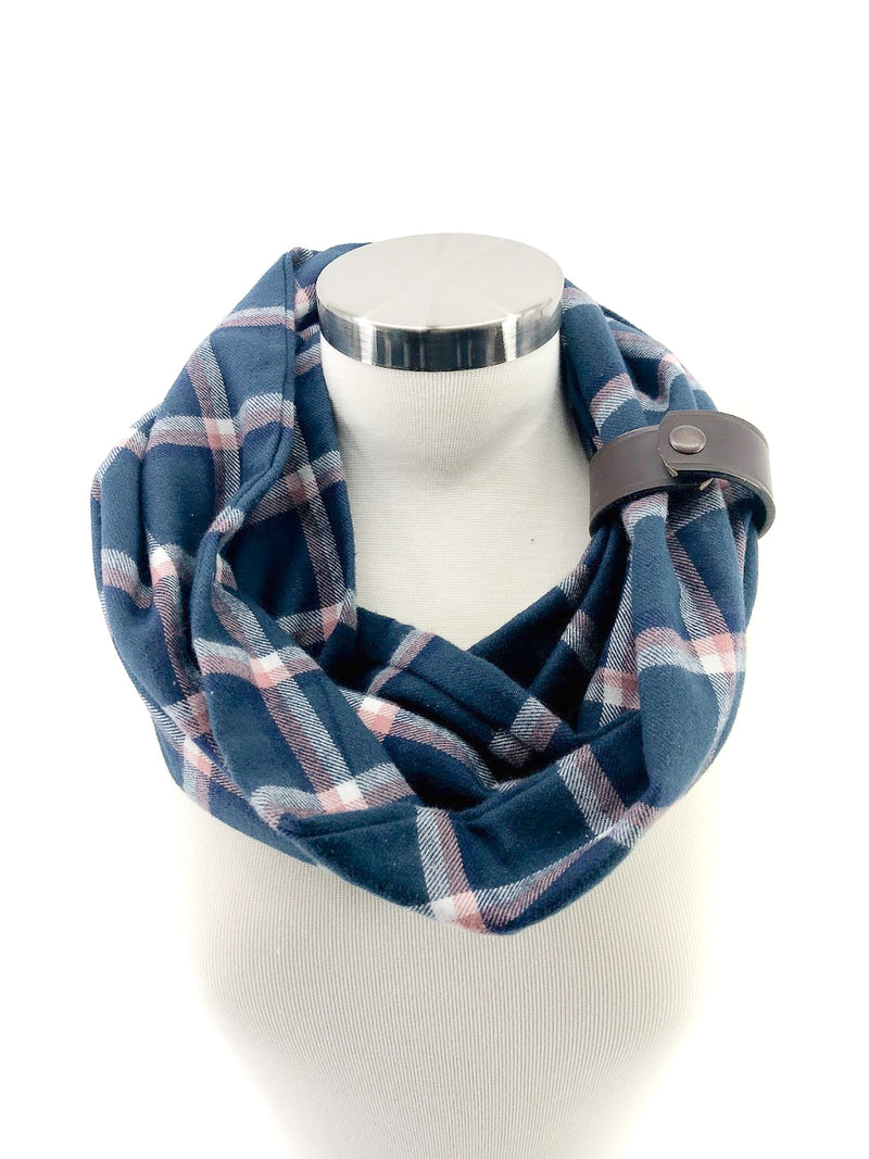 Navy & Pink Window Pane  (New) Eternity Scarf with a Leather Cuff
