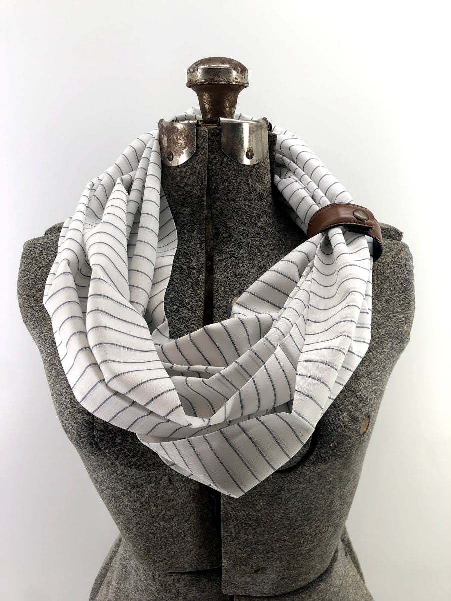 Sheer Pinstripe Eternity Scarf with a Leather Cuff