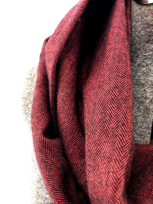 Red & Black Herringbone Eternity Scarf with a Leather Cuff