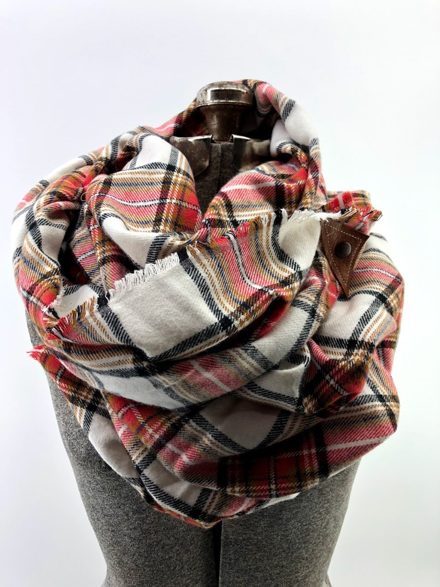 Red & Rust Plaid (New) Blanket Scarf with Leather Detail