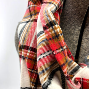 Red & Rust Plaid Eternity Scarf with a Leather Cuff