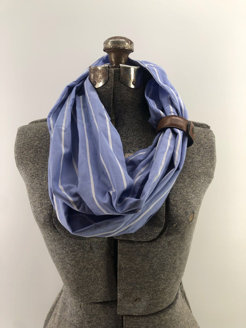 Sky Blue & White Thin Stripe Eternity Scarf with a Leather Cuff