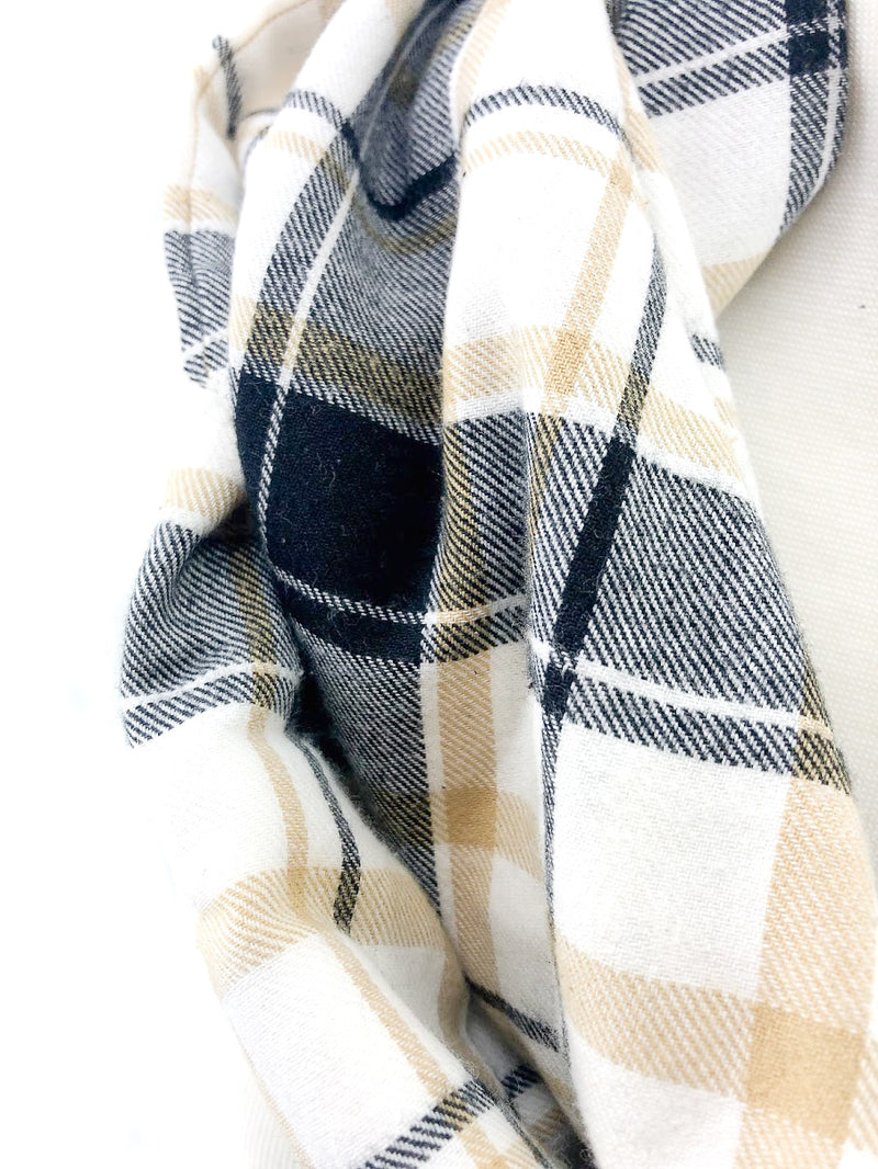 Tan & Black Plaid Eternity Scarf with a Leather Cuff