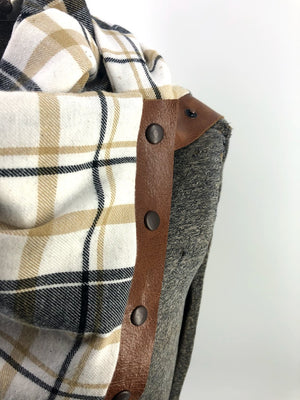 Tan & Black Plaid Multi Snap Scarf with Leather Snaps