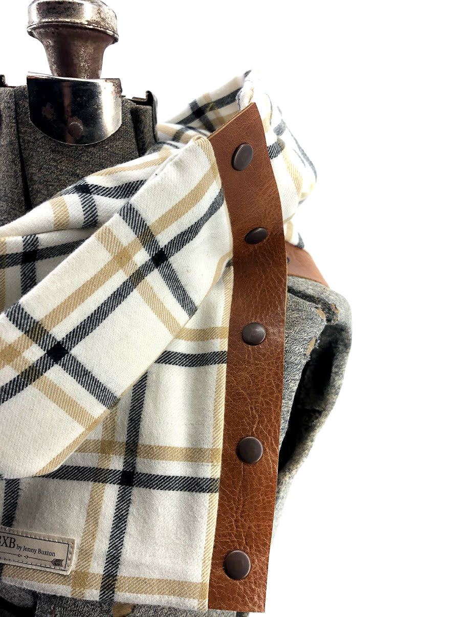Tan & Mustard Window Pane Multi Snap Scarf with Leather Snaps