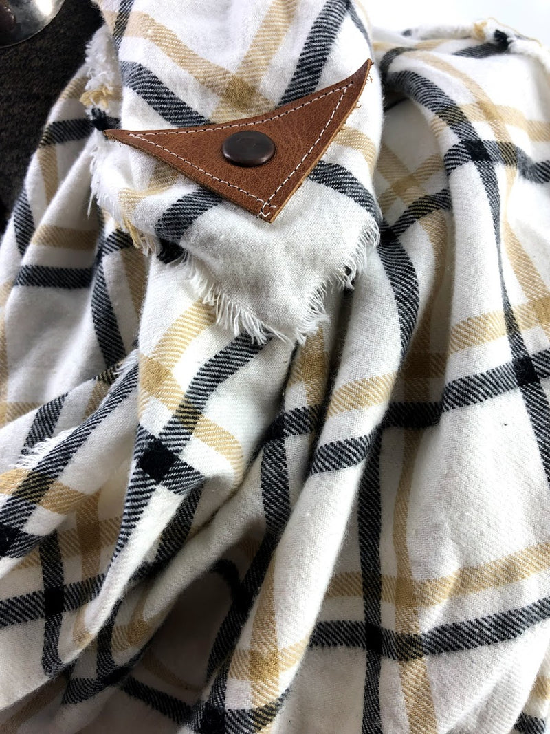 Tan & Mustard Window Pane (New) Blanket Scarf with Leather Detail