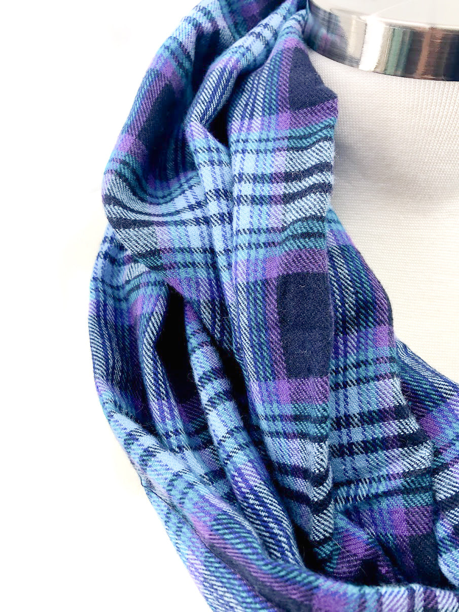 Teal & Purple Eternity Scarf with a Leather Cuff