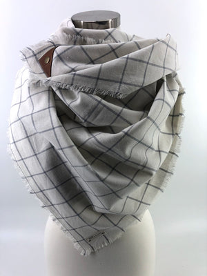 White & Gray Linen Windowpane Blanket Scarf with Leather Detail