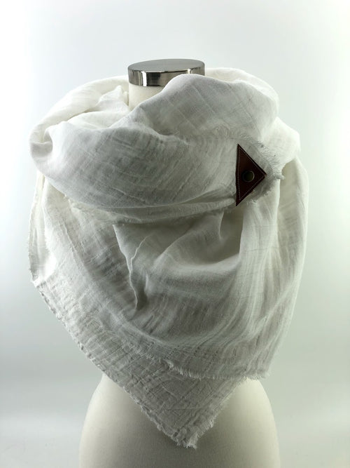 White Gauze Blanket Scarf with Leather Detail